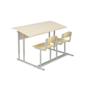 Парта ученическая с полкой со стульями
